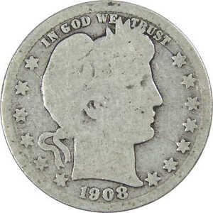 1908 O Barber Quarter AG About Good 90% Silver 25c US Type Coin Collectible