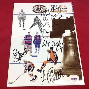 Wayne Gretzky Luc Robitaille Brett Hull Signed 1992 All-Star Program PSAv11015