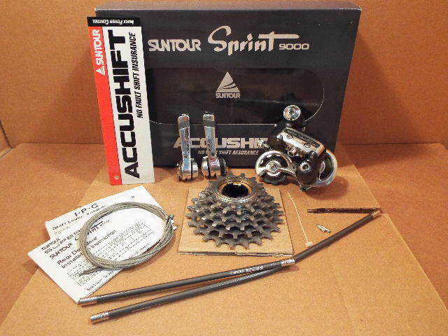 New-Old-Stock Suntour Sprint 9000 (6-Speed) Partial Drivetrain Set..Retail Boxed