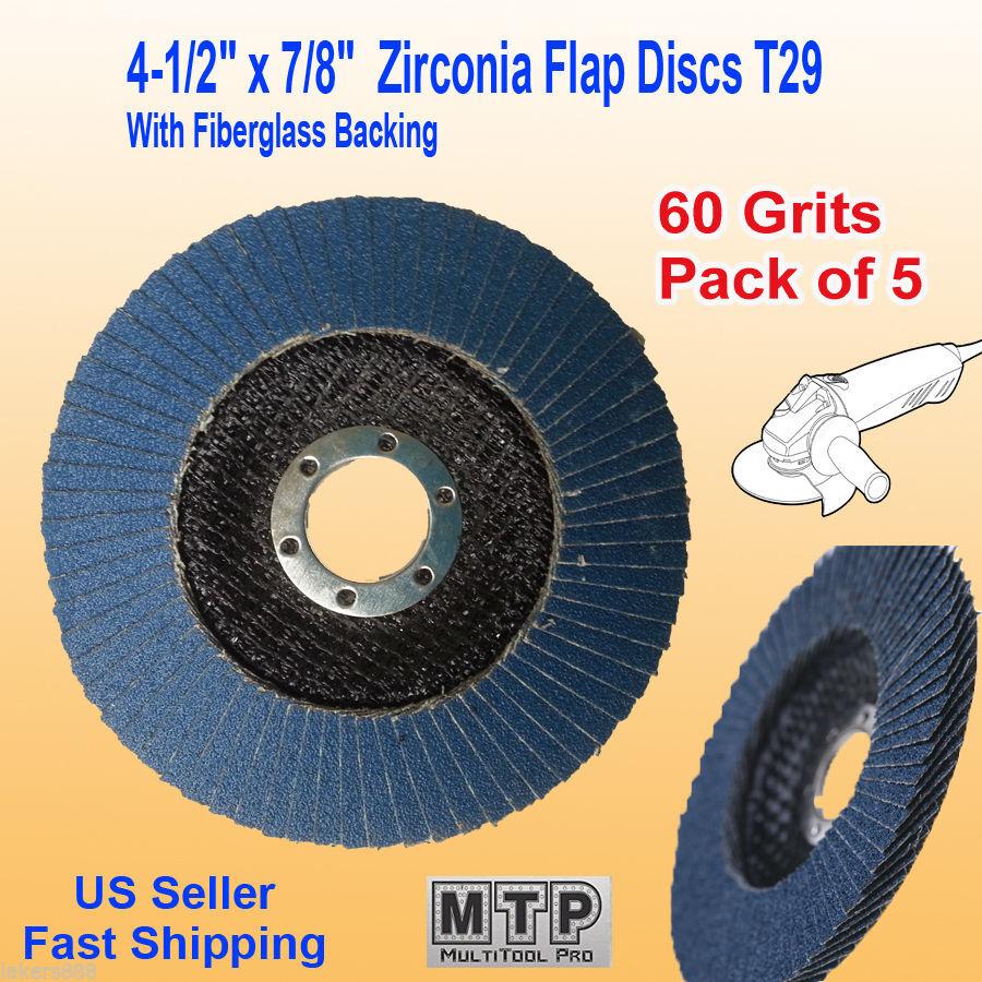 """5 Pack Flap Discs 60 Grit 4.5/"""" x 7//8/"""" Grinding Sanding Wheels Disc Zirconia"""