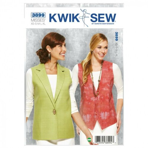 KwikSew-3899 Kwik Sew Ladies Sewing Pattern 3899 Waistcoats Sleeveless Tops