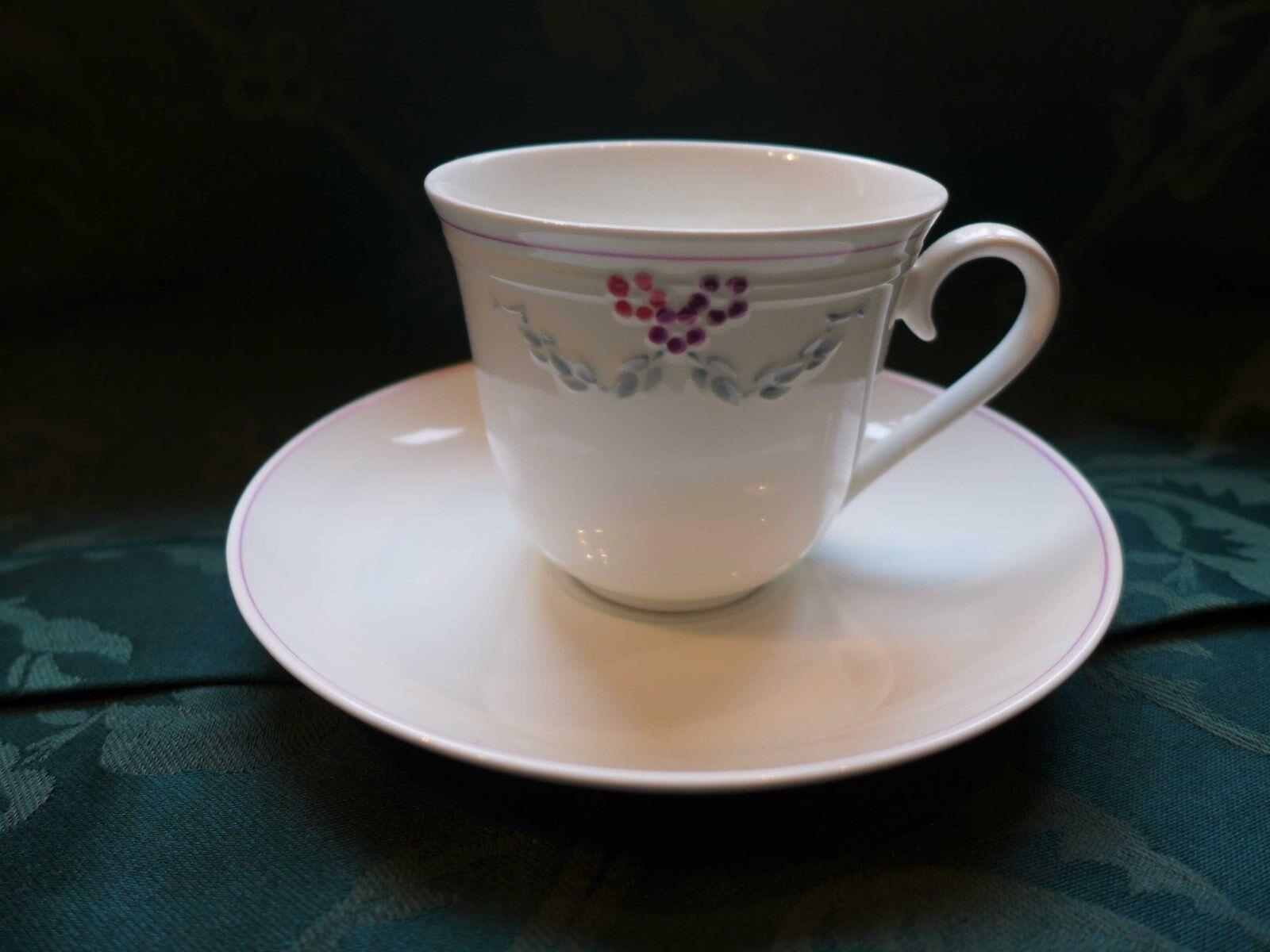 V&b Bel Fiore 4 grand café tasses + sous assiette comme neuf Jumbo Tasse Villeroy