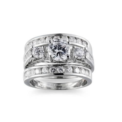 3Pcs//Set Exquisite Silver Sapphire Anneaux Cristal Zircon Mariage Bande Bijoux