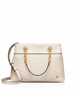 Details About Nwt In Plastic Tory Burch 498 Birch White Fleming Small Quilted Tote Bag