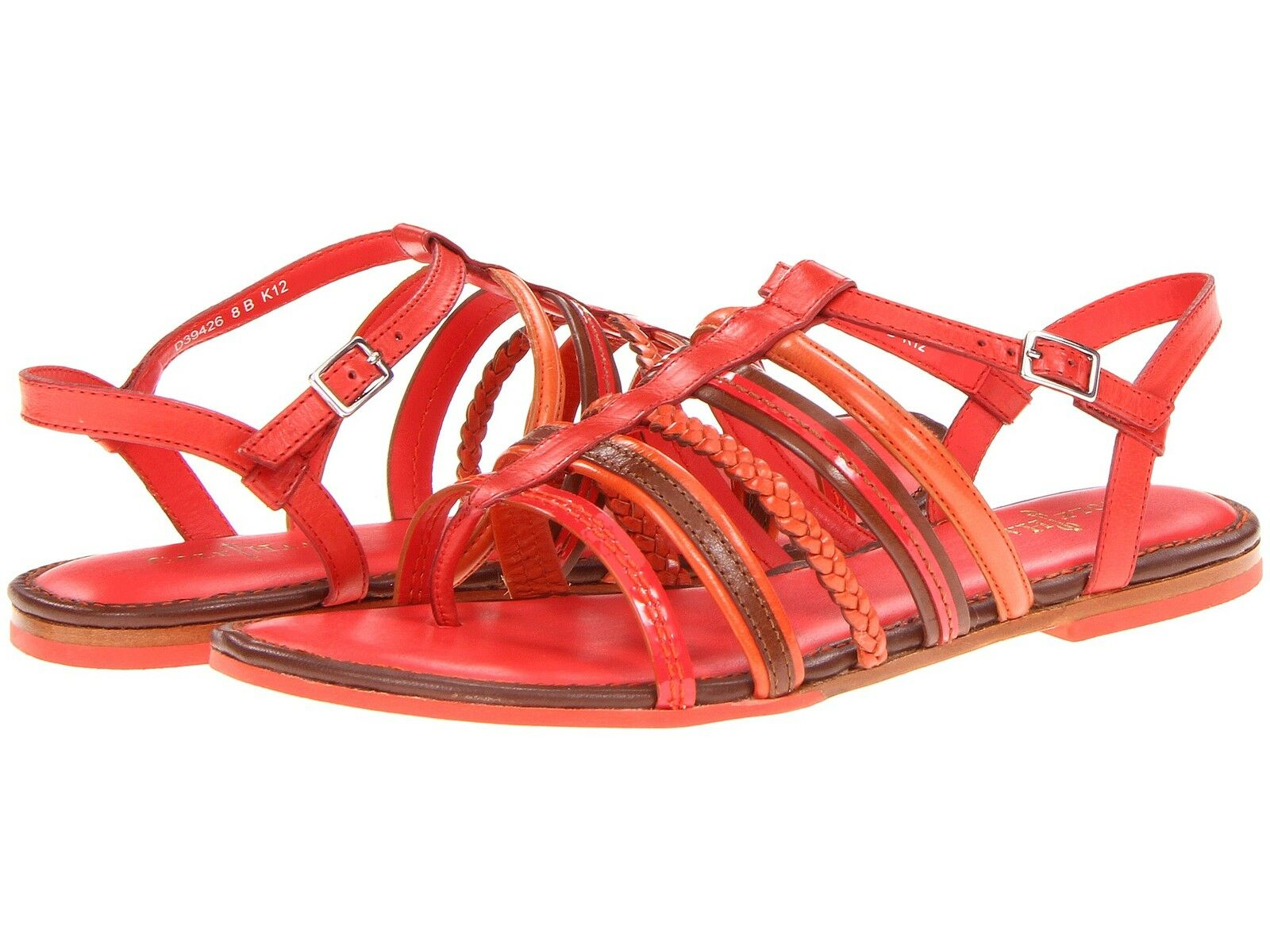 Cole Haan Nassau Flats Slingback Sandals Womens Cherry orange 6.5 NEW IN BOX