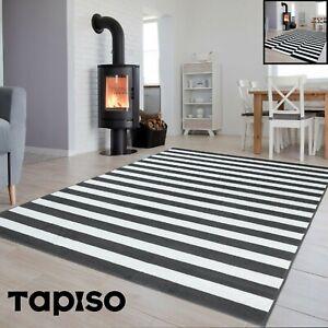 Details zu Kurzflor Teppich Grau Schwarz Weiß Gestreift Designer Wohnzimmer  Rechteckig NEU