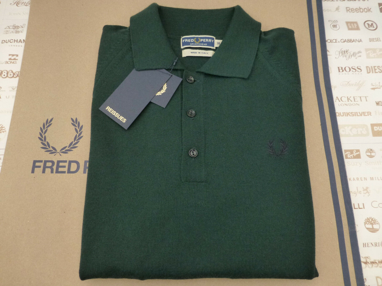 FRED PERRY Long Sleeve Shirt Reissues Merino Size 38 Green Wool Top BNWT RRP