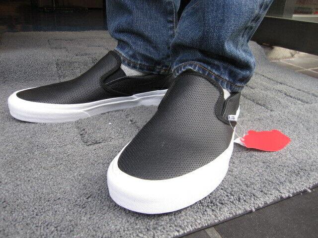 Vans Classic Slip On Perf Leather Sneaker in Black