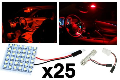 25PCS T10 Festoon 36-SMD Red LED Panel Interior Dome Map Replacement Light