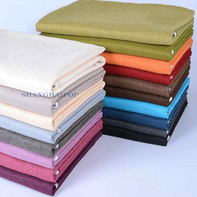 Plain Soft Linen Fabric Upholstery Cushion Sofa Curtain Pillow Table Cloth DIY