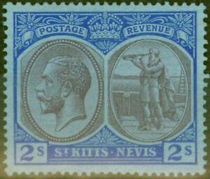 St-Kitts-amp-Nevis-1922-2s-Violet-amp-Blue-Blue-SG47-Fin-MTD-Excellent-Etat