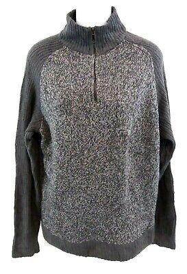 Calvin Klein Jeans Da Donna Maglione Pullover L Large Grigio Cotone & Acrilico 1/4 Zip-mostra Il Titolo Originale Stile (In) Alla Moda;