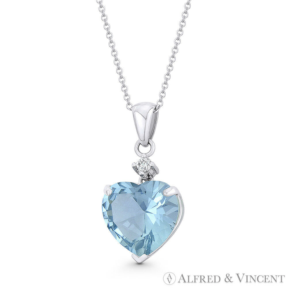 4049422a1 Heart-Shaped Faux Aquamarine blueee CZ 20mmx9mm in 14k White gold Pendant  Crystal nrtdgr914-Gemstone