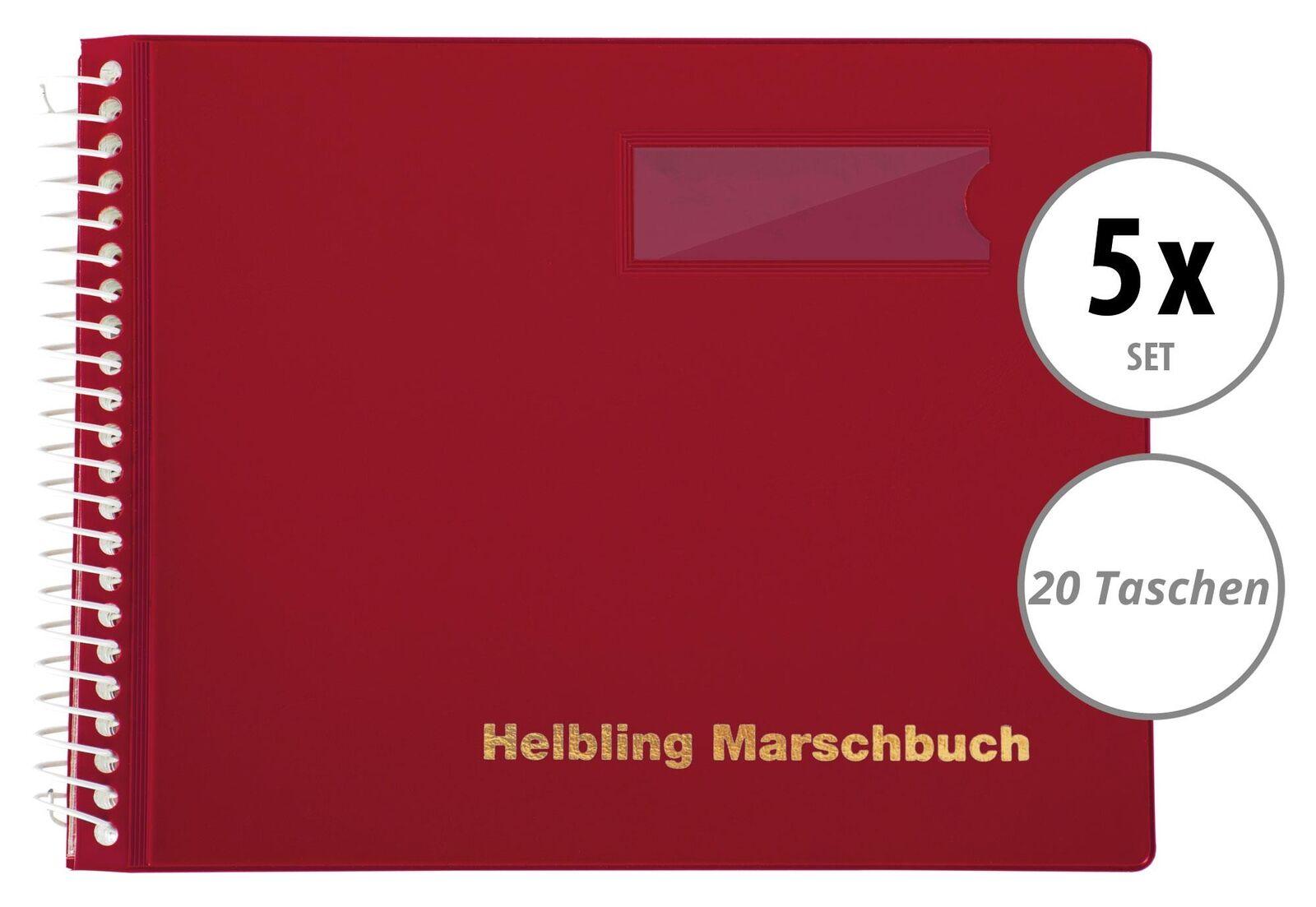 5 rote Marschbücher im Querformat von Helbling mit 20 Taschen für Blaskapellen