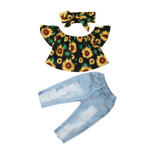 9420979a448 US Toddler Kid Baby Girl Off Shoulder Tops Denim Pants Jeans Outfit ...