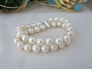Armband-Echte-Perle-10-11mm-Zweireihig-Super-Luester-Verschluss-925er-Silber