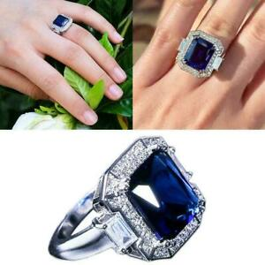 Fashion-Women-Silver-Jewelry-Wedding-Ring-Blue-Sapphire-Ring-Gifts-Z9F5