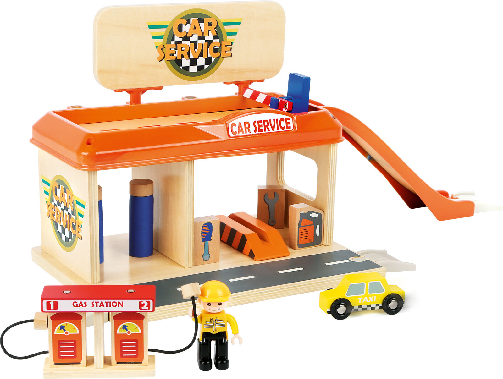 Small Foot Auto Repair Garage with with with Petrol Pump Wooden Toy Garage 01073a