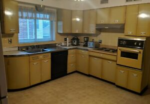 Geneva Mid-Century Yellow Metal Kitchen Cabinets 1950's | eBay