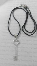 "A Love Heart Key Tibetan Silver Charm, Long 30"" Black Cord Chain Necklace"