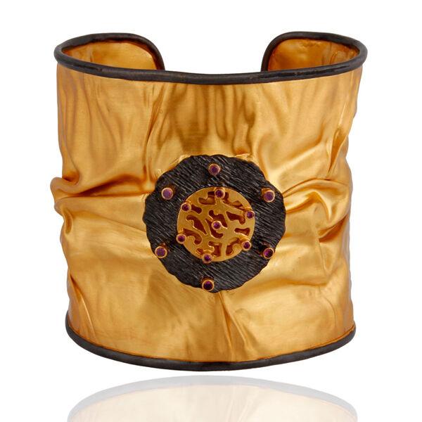 Wide Cuff Bracelets 18K Yellow gold Plated Red Zircon Gemstone Fashion Jewelry