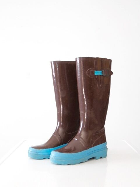 Marc Jacobs rain boots brown with bluee rubber boots size 9.5