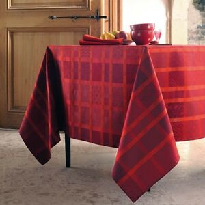 Garnier-Thiebaut-Fine-French-Cotton-Red-TABLECLOTH-Mille-Ladies-Coquelicot-New