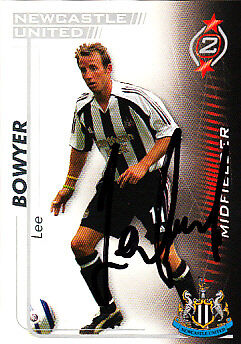 Newcastle United Fc Lee Bowyer Mano 05//06 Premiership Shoot Out tarjeta firmada.