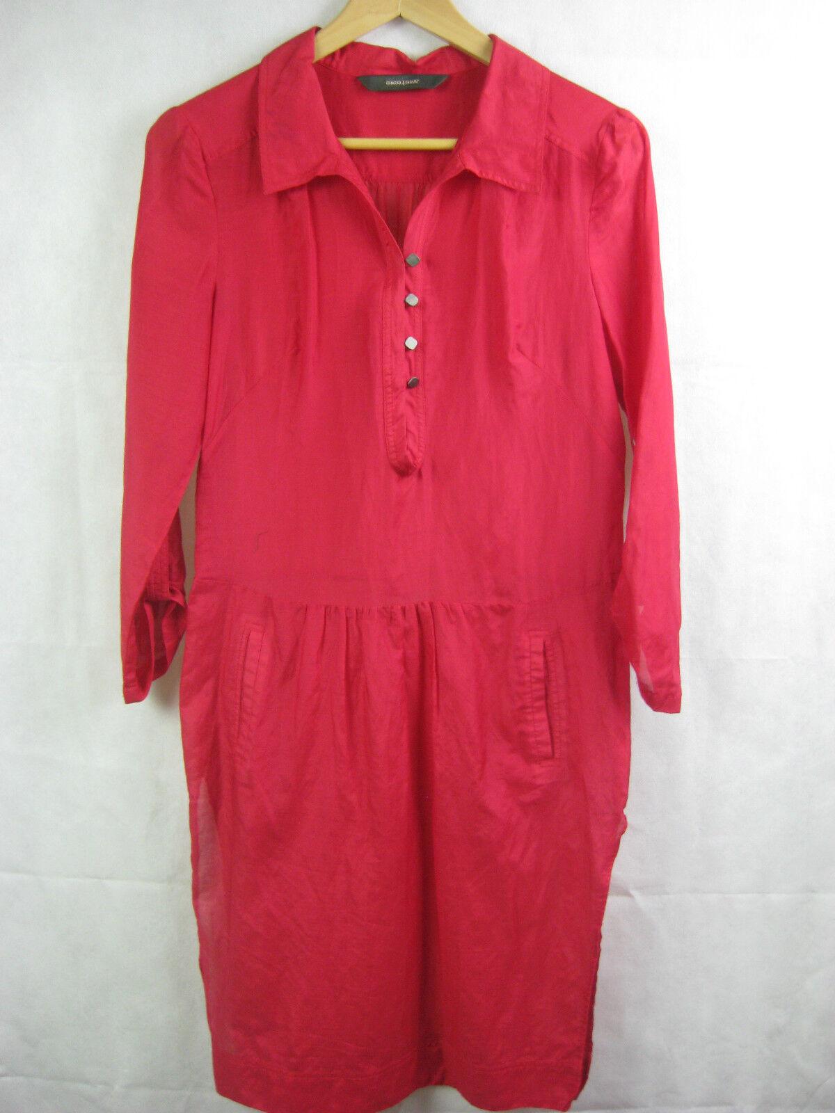 Ginger & Smart Size 8 Crimson Red Shirt Dress