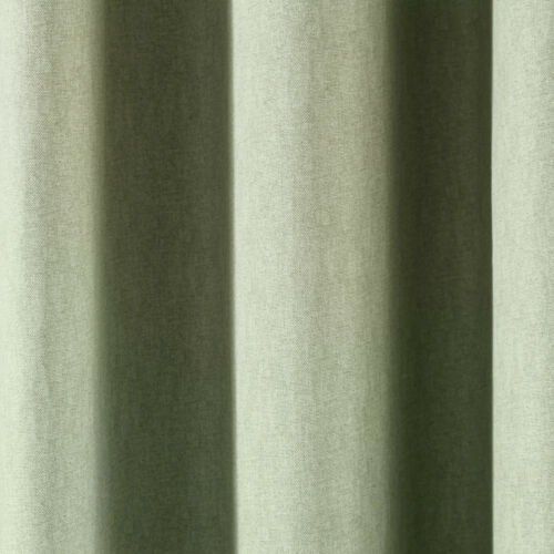 Pastel Light Green Eyelet Curtains Cotton Plain Lined Ring Top Curtains Pair