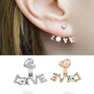 Pair-LOVE-Jacket-Earrings-Ear-Cuffs-Heart-Rhinestone-Climber-Huggie-Boho-Jewelry