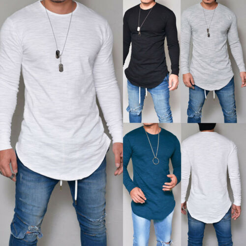 Mens Long Sleeve Round Neck T Shirts Casual Baggy Fitness Muscle Blouse Tee Tops