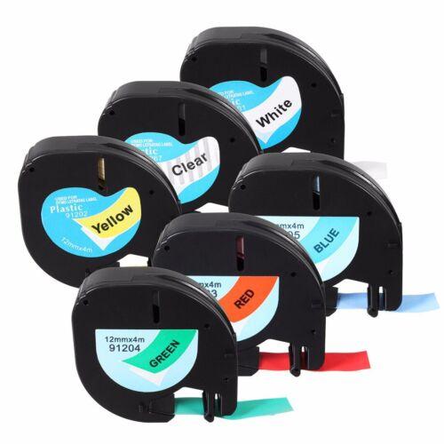 12mm x 4m Schriftband Band Kassette Etiketten Plastic Tape für Dymo Letratag