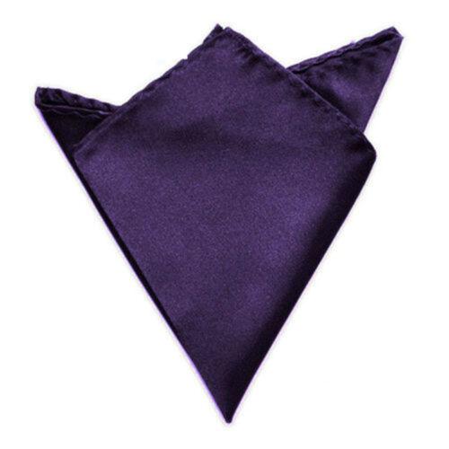 Fashion Men Silk Satin Pocket Square Hankerchief Plain Solid Color Wedding Party
