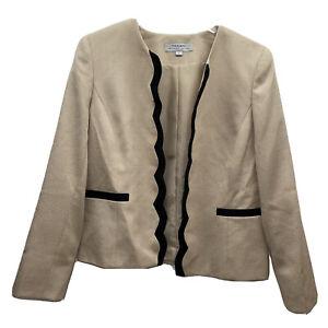 Tahari Women's Size 14 Scalloped Lined Arthur S Levine Tan Beige Blazer Jacket