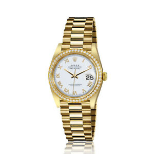 Rolex-31mm-Presidential-18kt-Gold-Glossy-White-Color-Roman-Numeral-Dial-Diamond