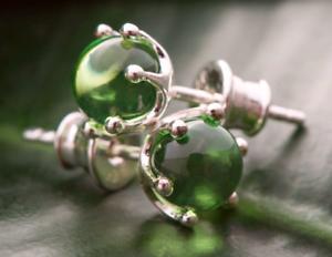 Amber-Stud-Earrings-Sterling-Silver-925-Genuine-Vintage-Green-Color-Certified