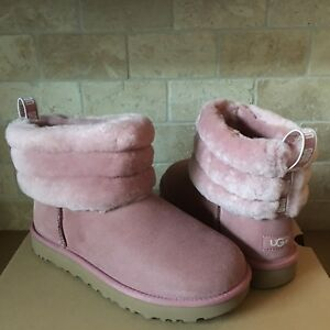 43c80782ad4 Details about UGG Mini Fluff Quilted Cuff Pink Dawn Suede Sheepskin Ankle  Boots Size 5 Womens