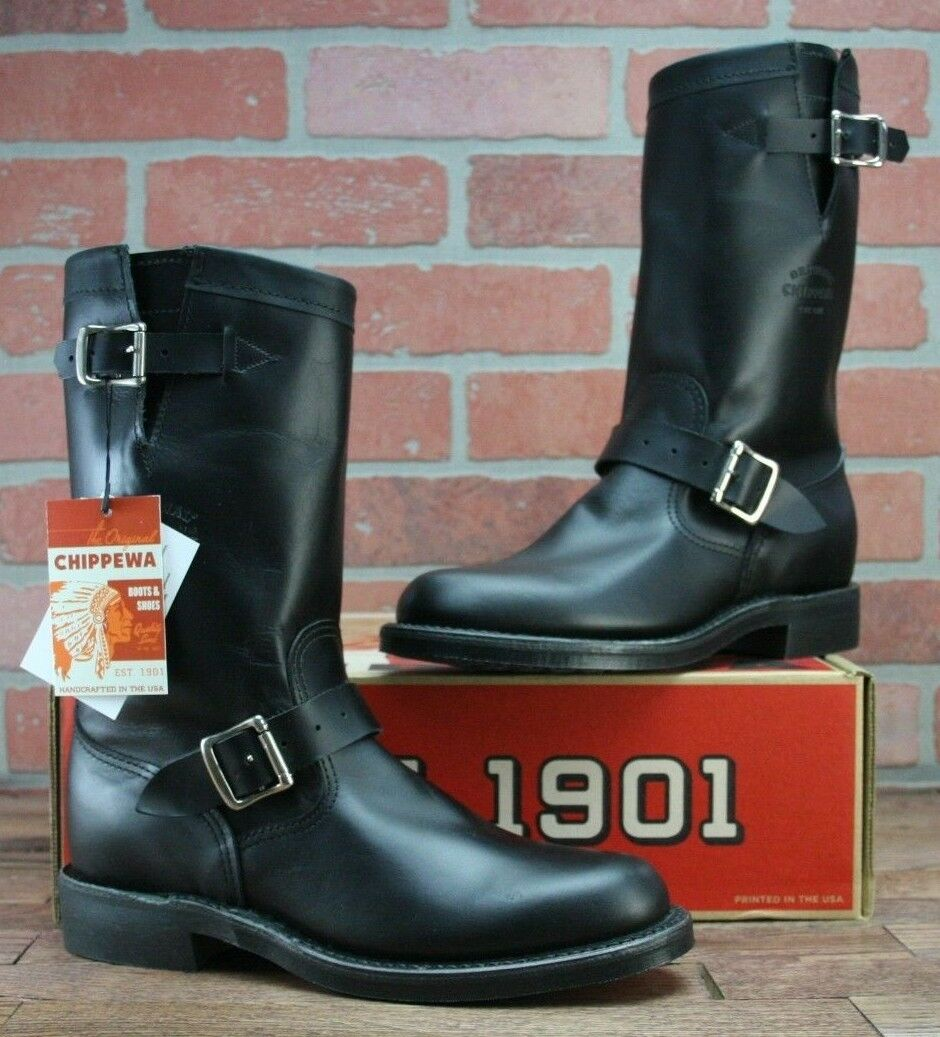 Chippewa 1901W14 Black Womens Leather Mid-Calf Boots Engineer Size 8.5 M