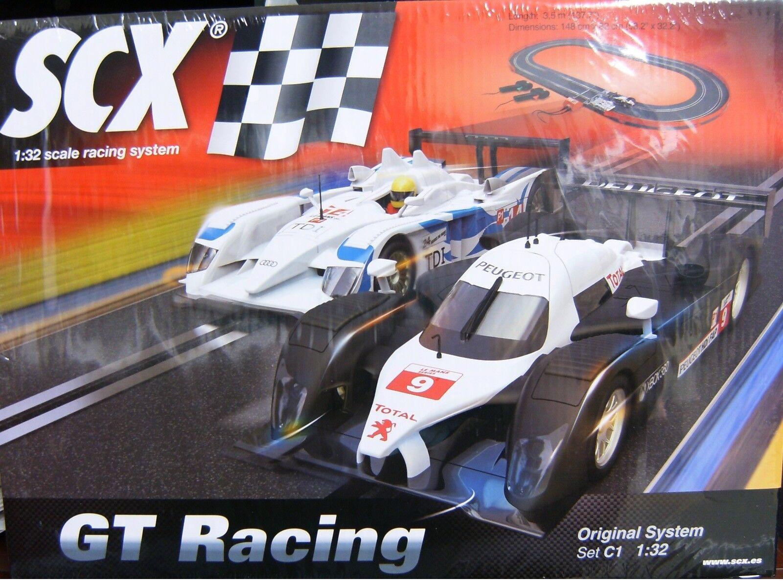 SCX C1 Gt Racing 1 32 Slot Car Set RACE I R10 PEUGEOT 908 A10111X5