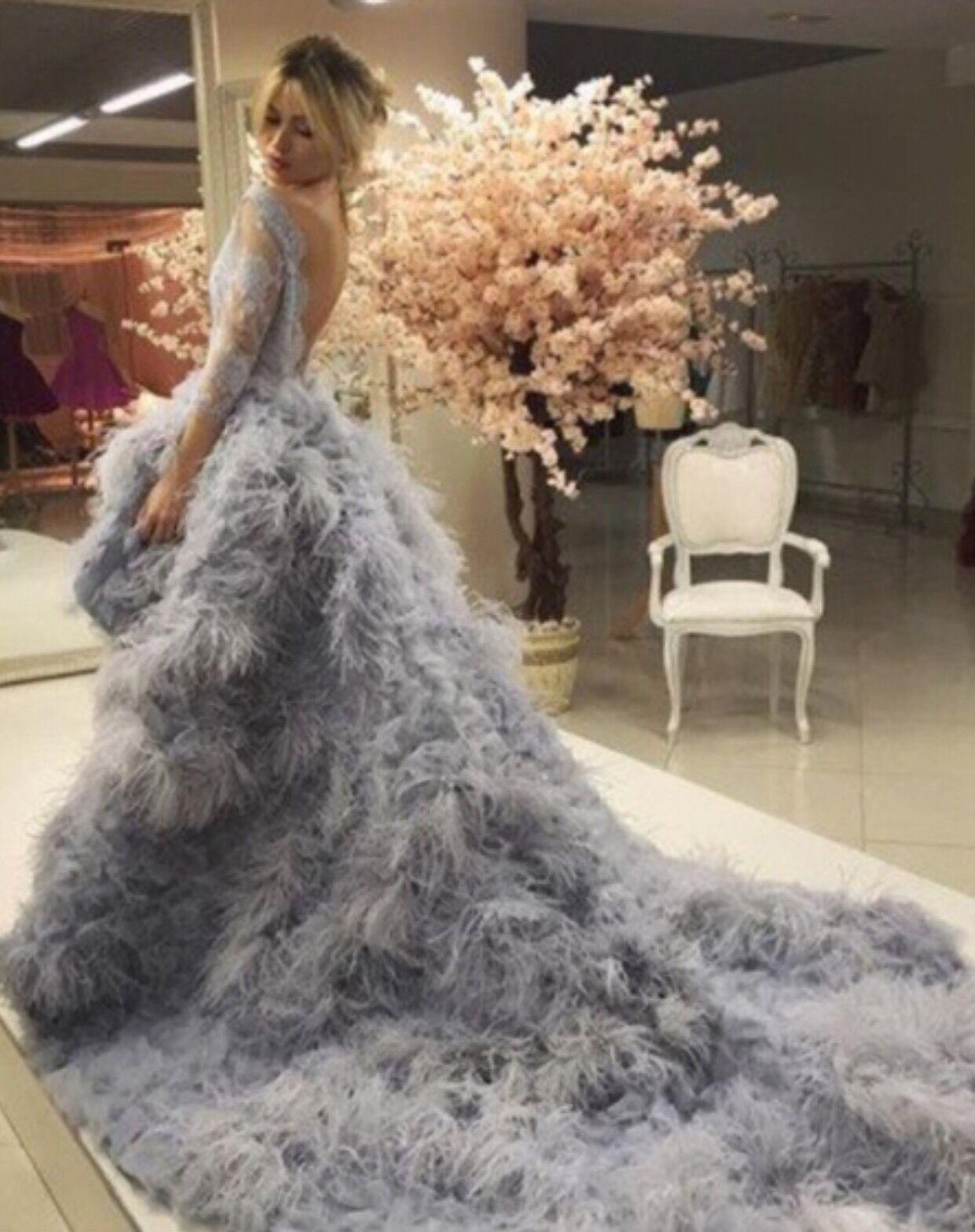 Feather Zurhair Murad Inspired High Low Hem Dress Special