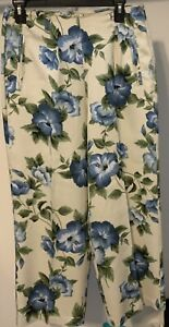 Tommy-Bahama-Blue-Floral-Print-100-Silk-Ankle-Pants-Size-8