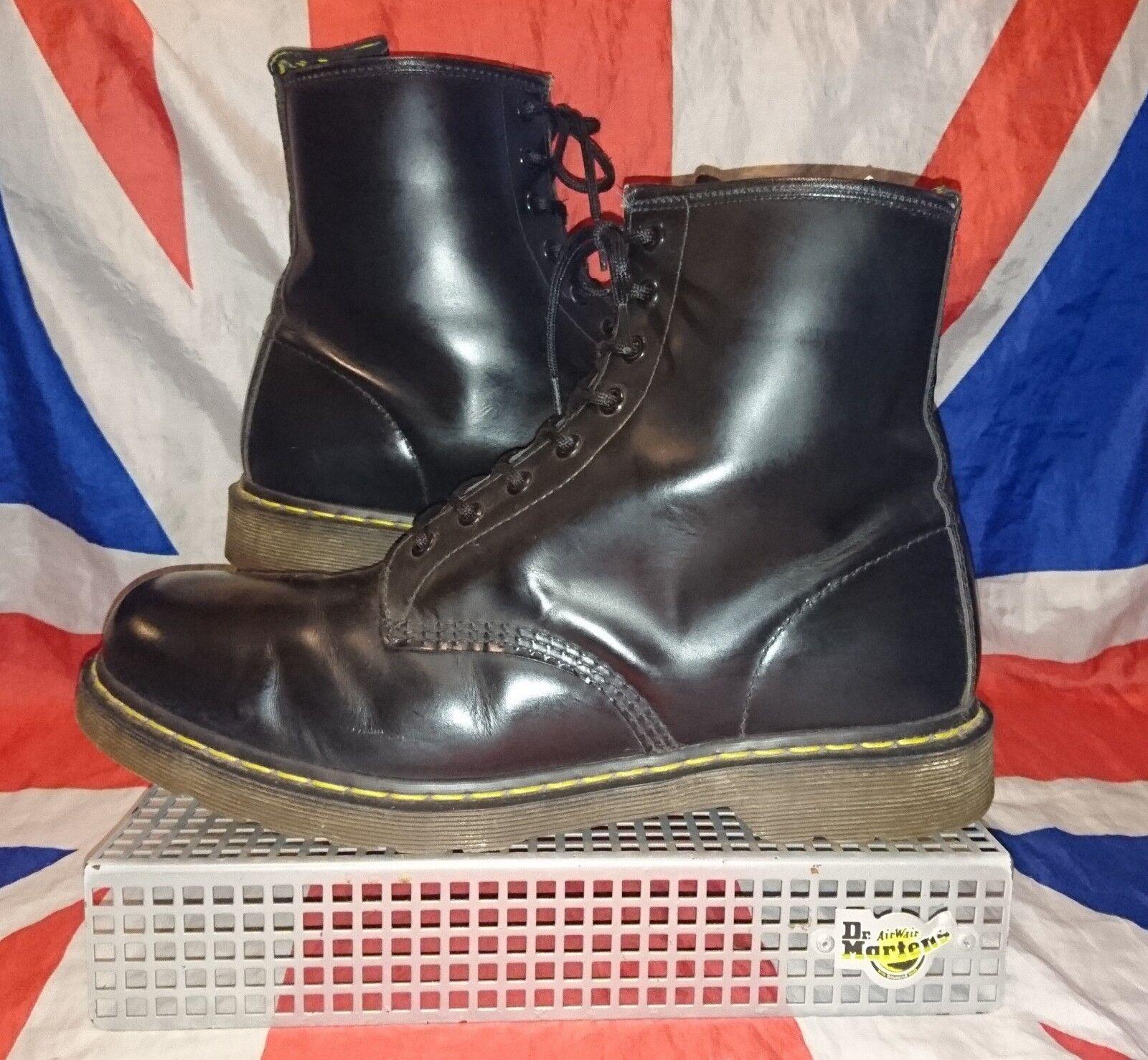 Clásico 1460  Cuero Negro Liso Dr Doc Martens  8 Ojo  Cabeza Rapada Punk Godo  Reino Unido 10