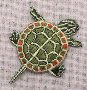 Painted-Turtle-Green-Natural-Reptile-Iron-on-Applique-Embroidered-Patch