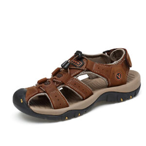 b1789b1401956 Details about Sandals for Men Leather Sports Hiking Men's Closed Toe Beach  Water Fisherman