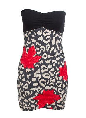 Motel Hand Made Wanda Designer Dress Black Feather Print Motel Rocks Bnwt New