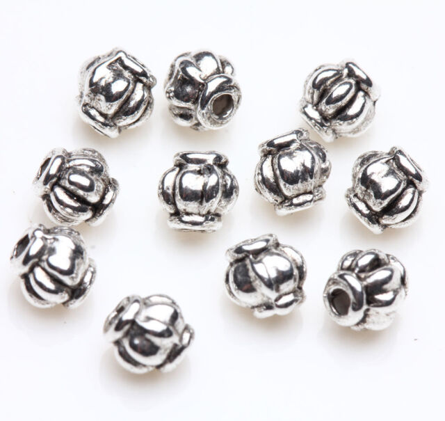New Silver Plated Loose Spacer Beads Charms Jewelry Making Findings 50/100pcs