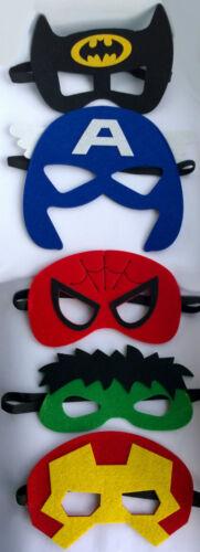 Masques Super-héros Enfants feutre masque cadeau sac de fête charges COSTUME ROBE FANTAISIE GARÇONS