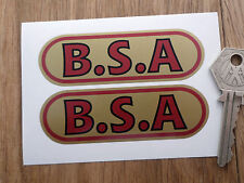 BSA Red & Gold Oval Style STICKERS 90mm Pair Classic Motorcycle Bike Tank Star