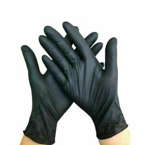 100X-Nitrile-Latex-Disposable-Gloves-Powder-Free-Non-Sterile-Extured-Black-Glove